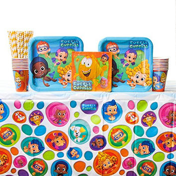 Bubble Guppies Party Supplies Pack for 16 Guests - Straws, Lunch Plates, Luncheon Napkins, Cups, and Table Cover