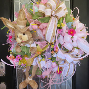 Easter Wreath, Spring Wreath, Front Door Wreath, Wreath for Door, Large Wreath, Outdoor Wreath, Easter Bunny Wreath, Easter Decoration