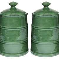 Earthenware Canisters, Green, Set of 2, Kitchen Canisters, Canning & Spice Jars