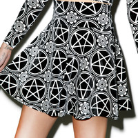 Kill Star Pentagram Velvet Skater Skirt Black