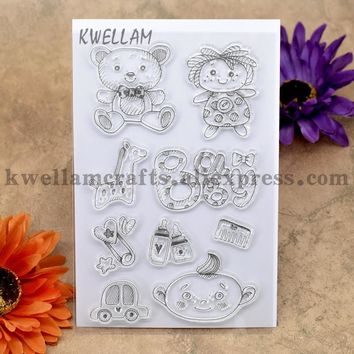 BABY Bear Bottle Car BOY GIRL Scrapbook DIY photo cards account rubber stamp clear stamp transparent stamp 10x15cm KW7030111