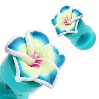 Hawaiian Plumeria Flower Acrylic Fake Plug