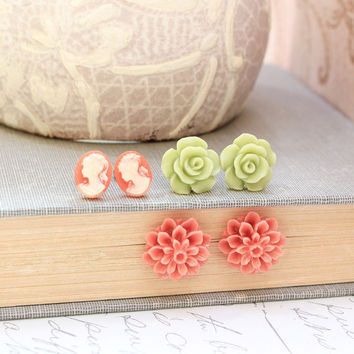 Flower Studs Cameo Post Earrings Resin Jewelry Green Rose Coral Chrysanthemum Dahlia Victorian Romantic Lady Face Profile Floral Jewellery