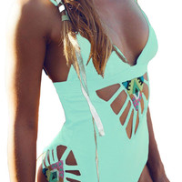 Lake Blue Padded Hollow Out One Piece Swimsuit
