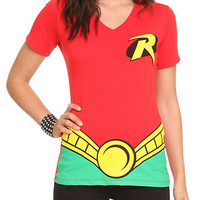 DC Comics Robin Costume V-Neck Girls T-Shirt | Hot Topic