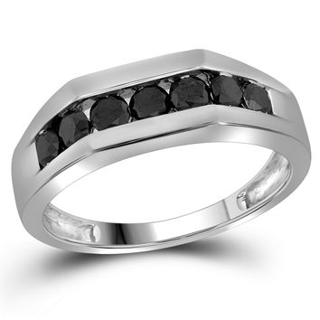 10kt White Gold Mens Round Black Colored Diamond Band Wedding Anniversary Ring 1.00 Cttw 81407