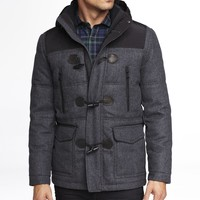 QUILTED WOOL BLEND DUFFLE COAT