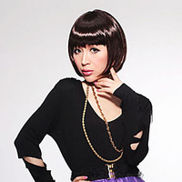 Capless Decent Short Straight Bob High Quality Synthetic Chestnut Brown Hair Wig