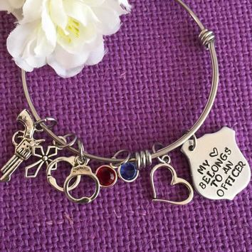 My Heart Belongs to a Policeman - Officer Personalized Bangle - Charm Bracelet Expandable- bracelet Hand cuffs, gun, police lights