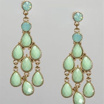 Mint Stone Cluster Earrings