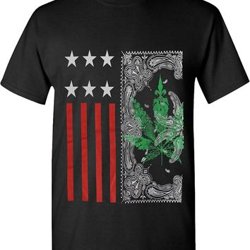 Us Flag Stamp Weed Leaf Marijuana 420 Solid Graphic T-Shirts