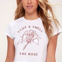 Stop and Smell the Rose White Cropped Tee