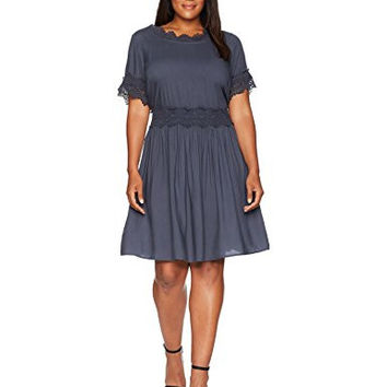 Junarose Women's Plus Size Short Sleeve Lace Detail Dress, Ombre Blue, 18W