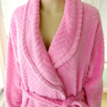 Vintage J. APPEL Womens Robe House Coat Plush Bathrobe Loungewear Rockabilly Pink Robe Maxi House Robe Epsteam Retro 90's Ladies Size Medium