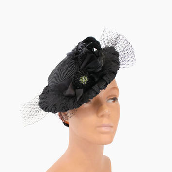 40s BLACK Woven Veiled TILT HAT / 1940s New York Creation Straw with Sequin Rosette and Feather