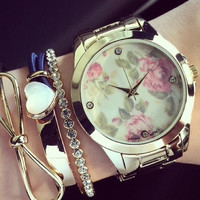 Gold Tone Link Floral  Face Watch  (No label)