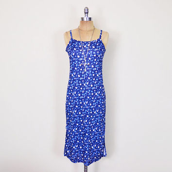 Vintage 90s Blue Daisy Dress Daisy Print Dress Floral Dress Floral Print Midi Dress Maxi Dress 90s Dress 90s Grunge Dress Club Kid Dress S M
