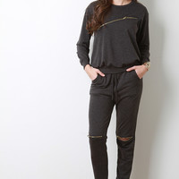 Slit Zipper Trim Jersey Knit Jogger Pants