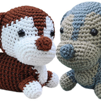 Blue;brown Dachshund dogs Handmade Amigurumi Stuffed Toy Knit Crochet Doll VAC