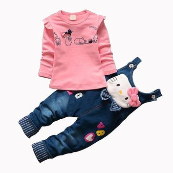 CNJiaYun Hello Kitty Girls Clothing Sets Spring Cotton Children's Suspenders Sets Full Sleeve shirt Jeans 2 Pieces Kids Clothing