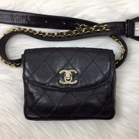 CHANEL Black Lambskin Quilted Bum Bag (Waist Bag)
