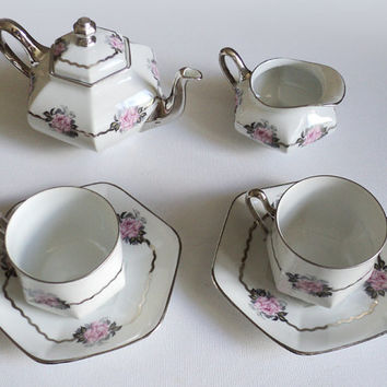 UC. Limoges Rose & Silver French Coffee/Tea Set
