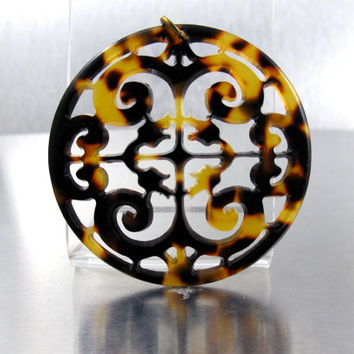Tortoise Shell Pendant, Pierced Filigree Lacey Scroll Pendant, Vintage 1990s Tortoise Shell Lucite Statement Jewelry