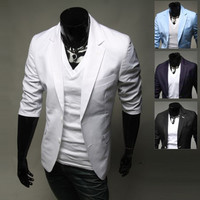Slim Fit Men's Two Buttons Half Sleeve Blazer