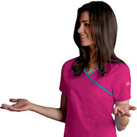 Everyday Scrubs by Dickies Womens Junior Contrast Trim Mock Wrap Solid Scrub Top
