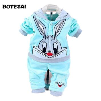 Baby Girls Clothing Set Cartoon Rabbit & Hello Kitty  Winter Autumn Children Clothing Casual Tracksuits Kids Clothes Girls