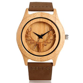 Nature Wood Bamboo Deer Head With Genuine Leather Strap