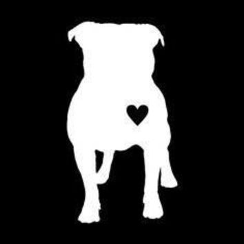 Pitbull Heart Front Vinyl Car/Laptop/Window/Wall Decal