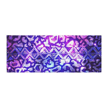 "Ebi Emporium ""Tribal Leopard Galaxy"" Purple Blue Painting Bed Runner"
