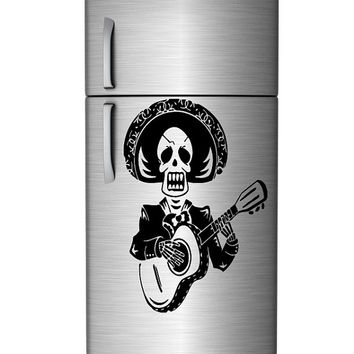 Wall Decor Vinyl Sticker Room Decal Funny Mexican Skeleton Playing Guitar 1327