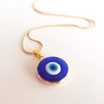 Dark blue evil eye necklace, choker necklace, tiny evil eye necklace, 22K gold plated necklace