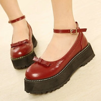 Japanese harajuku bowknot platform shoes
