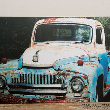 Old truck photograph, 1951 Ford International Photo, Truck Art, large wall print, blue and white, MollysMuses