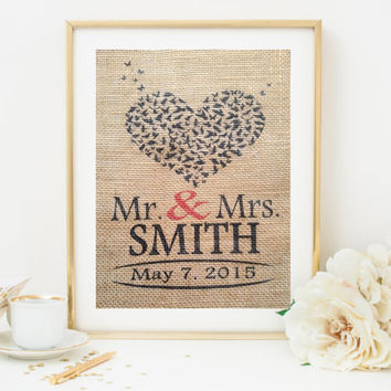Personalized Heart Wedding Gift -Custom Burlap, Wedding, Anniversary Gift, Wedding Gift,  Hearts - Love , Sweetheart Gift