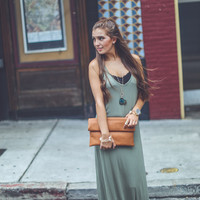 Basic Cotton Maxi in Olive