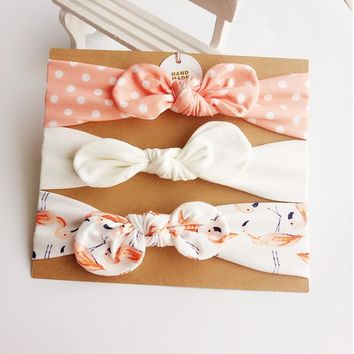 3Pcs Cute Rabbit Ear Baby Headband neonata bow flower Elastic Baby Girls Head bands Children Turban hair Accessories Hair Set