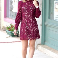 Chic Lace Long Sleeve Illusion Dress {Burgundy}