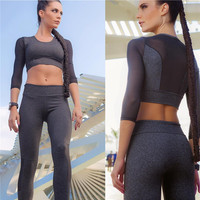 Outdoors Sports Gym Set Lace Patchwork Stretch Yoga Sportswear Set [9461670983]