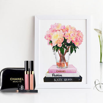 FASHION ART,Coco Chanel Book,Kate Moss Fashion Book,Watercolor Flowers,Beauty Chic,Watercolor Illustration,Flowers Print,Fashion Art,Print