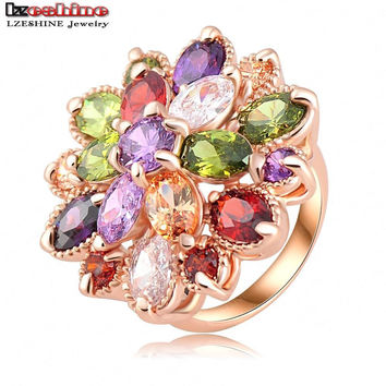 Multicolor Flower Engagement Rings 18K Rose Gold Plated