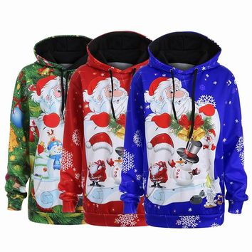 Streetwear Di Natale Sweaters Ugly Christmas Sweater Hooded Matching Couple Clothes Unisex for Lovers Women Men Autumn Winte NEW