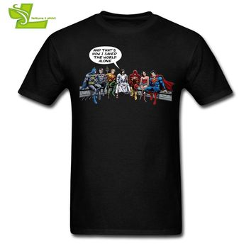 Batman Dark Knight gift Christmas Captain America spiderman Batman superman and that is how i saved the world jesus T shirt Men's 100% Cotton Novelty Tees AT_71_6