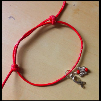 Red Awareness Ribbon Angel Sliding Knot Bracelet - Heart Disease - HIV Aids - Lymphoma - Stroke - MADD - DARE - & much more