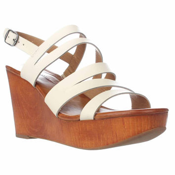 Lucky Brand Marinaa Wedge Strappy Sandals, Linen, 9.5 US / 39.5 EU