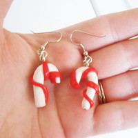 Christmas Candy Cane Dangle Earrings hypo-allergenic