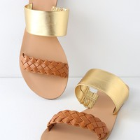 Caylee Cognac and Gold Nappa Leather Slide Sandals